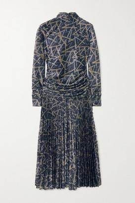 Victoria Victoria Beckham Gathered Plisse-lurex Midi Dress - Gold