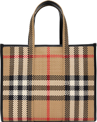 Burberry Small Woven Vintage Check East-West Book Tote Bag