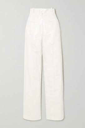 ALEKSANDRE AKHALKATSISHVILI Paneled Crinkled-vinyl And Cotton-twill Wide-leg Pants - White