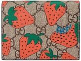 Gucci GG Strawberry print card case wallet
