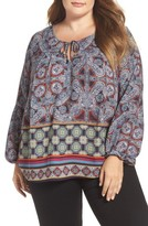 London Times Plus Size Women's Border Print Peasant Top