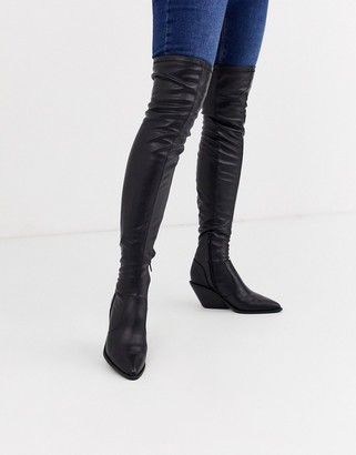Asos Design DESIGN Kingpin western flat thigh high boots-Black