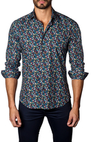Jared Lang Flower Printed Cotton Sportshirt