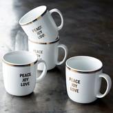 Williams-Sonoma Open Kitchen Mugs, Set of 4, Peace, Joy & Love