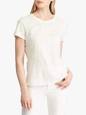 Ralph Lauren Ralph Embroidered Cotton T-Shirt, Silk White