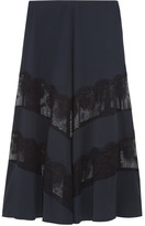 Stella McCartney Lace-paneled Silk Maxi Skirt - Midnight blue