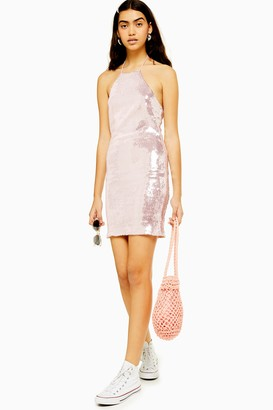 Topshop Womens Sequin Halter Neck Mini Dress - Pale Pink
