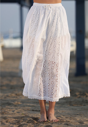 Ananda's Collection Women's Casual Skirts whtie - White Floral Eyelet Midi Skirt - Juniors