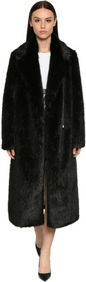 Srvz Belted Faux Fur Maxi Coat W/ Crystals