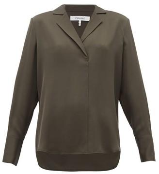 Frame Notch-lapel Collar Silk-crepe Blouse - Khaki