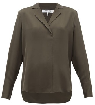 Frame Notch-lapel Collar Silk-crepe Blouse - Womens - Khaki