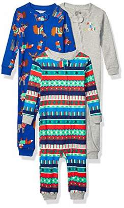 Amazon Brand - Spotted Zebra Toddler Kids 3-Pack Snug-Fit Cotton Footless Sleeper Pajamas