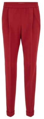 HUGO BOSS Relaxed Fit Pants With Elastic Waist And Side Stripes - Dark Red