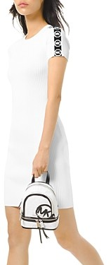 MICHAEL Michael Kors Logo Striped Ribbed Dress
