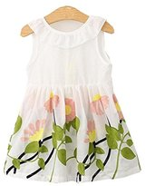 Girl Dress,Haoricu 2017 New Cute Baby Girls Embroidery Floral Print Sleeveless Princess Dresses (Size:90, White)