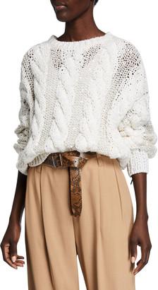 Brunello Cucinelli Crewneck Cable Knit Long-Sleeve Sweater w/ Paillettes