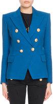 Balmain Double-Breasted Pique Blazer, Blue