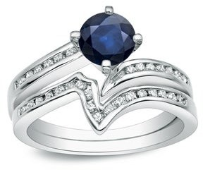 Auriya 14k Gold 3/4ct Blue Sapphire and 1/4ctw V-Shaped Diamond Engagement Ring Set