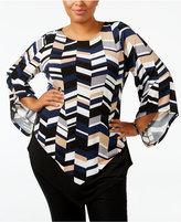 Alfani Plus Size Printed V-Hem Top, Only at Macy's