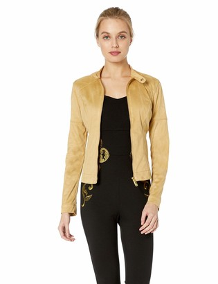 True Religion Women's Quilted Vegan Suede Moto Jacket