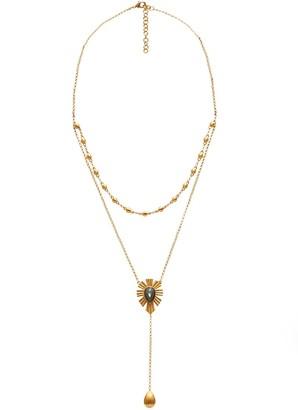 Mystique Unique Layered Lariat Necklace Labradorite