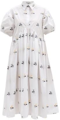 Cecilie Bahnsen Mikko Hawthorn Floral-jacquard Midi Shirt Dress - White Multi