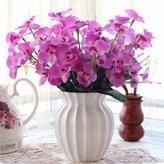Artificial Flower SituMi Situmi Artificial Fake Flowers Indoor Rome Ceramic Vases Simulation Bouquets Kit Parlor Home Plastic Pot,Purple Orchid