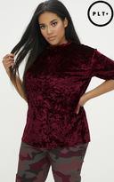 PrettyLittleThing Plus Burgundy Velvet T-Shirt
