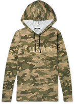 Balmain Camouflage-print Cotton-jersey Hoodie - Army green