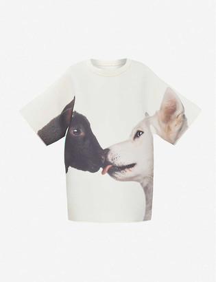 Benetton Graphic-print stretch-woven T-shirt