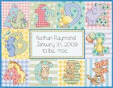 "Dimensions Zoo Alphabet Birth Record"" Counted Cross Stitch Kit, Multi-Colour"