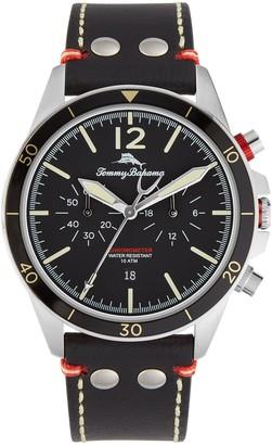 Tommy Bahama Men's Black Bay Leather Strap Watch