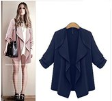 Urparcel Europe and the United States Women's Open Front Loose Trench Coat Outwear Waterfall Cardigan Sweater Jacket 3XL