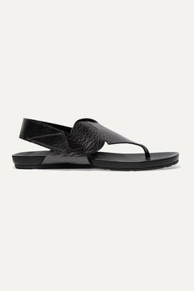 Pedro Garcia Josefa Metallic Textured-leather Slingback Sandals - Gunmetal