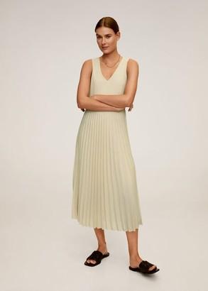 MANGO Pleated midi dress sand - 2 - Women