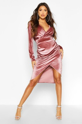 boohoo Velvet Wrap Ruched Detail Midi Bodycon Dress