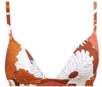 Dodo Bar Or Rachelle Floral Print Bikini Top - Womens - Brown Print