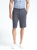 Banana Republic Linen Navy Stripe Drawcord Short