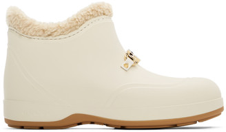 Gucci Off-White Rubber Horsebit Ankle Boots