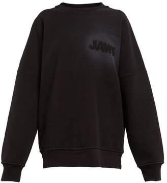 Calvin Klein Jaws Raw Hem Cotton Jersey Sweatshirt - Womens - Black