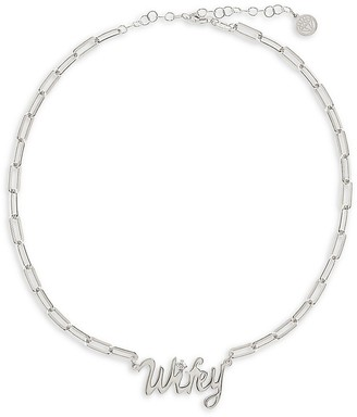 GABIRIELLE JEWELRY Get Personal Sterling Silver Cubic Zirconia Wifey Chain Necklace