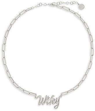 GABIRIELLE JEWELRY Get Personal Sterling Silver Cubic Zirconia Wifey Chain Necklace