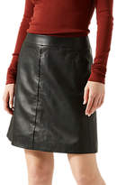 Jigsaw Leather Mini Skirt, Black