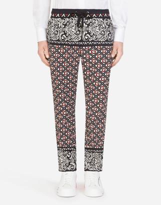 Dolce & Gabbana Woolen Jogging Pants In Bandana Print