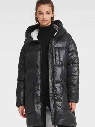 DKNY Women's Oversized Long Puffer - Black - Size XS
