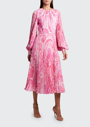 Andrew Gn Pleated Midi Fit & Flare Dress