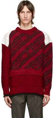 Givenchy Red and White Chain Patchwork Sweater