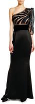 Giorgio Armani One-Shoulder Tulle Satin Gown