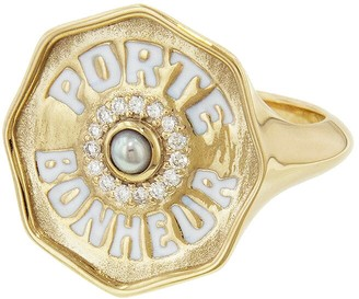 Marlo Laz Pearl and Diamond Porte Bonheur Coin Ring - Yellow Gold