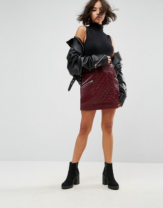 Asos Design DESIGN leather look puffer mini skirt with quilting detail-Red